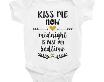 Kiss Me Now Midnight is past my bedtime Infant Bodysuit