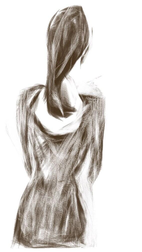 Dont turn around - woman  - Minimalist Fine Art Print.