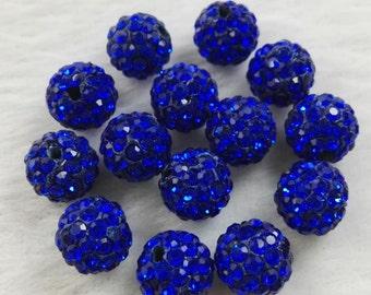 8mm 10mm Shamballa Spacer Beads , Rhinestone Disco Balls,Navy Blue Shamballa Beads , Polymer Clay Beads ,DIY jewelry accessories ,Findings
