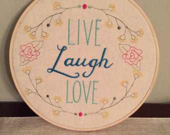 "Ready to Hang Embroidered Wall Hanging ""Live Laugh Love"""