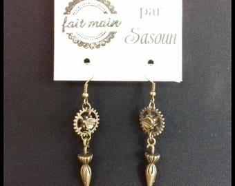 Umbrella steampunk gear earrings