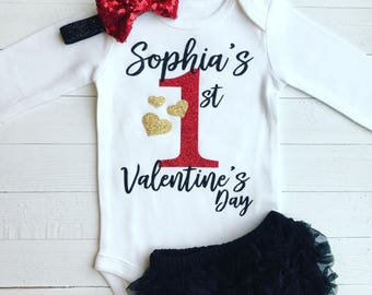 First Valentines Day Outfit | 1st Valentines Outfit | First Valentine Onesie | Baby Girl Valentines Outfit | Valentine | 1st Valentines