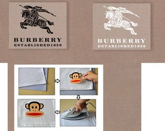 1 Day Ship! Burberry Luxury PERFECT quality Heat Press Iron On Transfer Vinyl Patches Embroidery Emblem Logo Brand