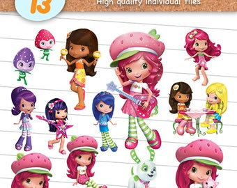 Strawberry Shortcake Clipart Files, Strawberry Shortcake PNG, PNG with Transparent Background, Scrapbook Images, Digital Download - CP-025