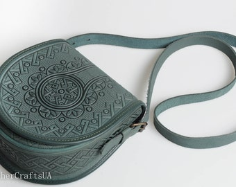 Green bag women, round crossbody bag, genuine leather, tooled leather purse, shoulder leather bag, hot tooled leather, unigue bag for her