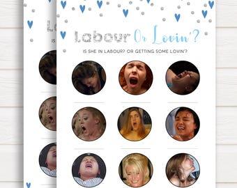 Blue Labour or Lovin Game, Labor or Lovin Game, Porn or Labour Game, Fun Baby Shower Games, Lovin Or Labour Game, Porn or Labour Game
