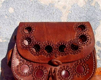 Beautiful Brown Handmade Moroccan Embossed Leather Messenger Bag