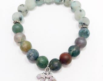 Indian Agate Bracelet • Jasper Bracelet • Om Charm Bracelet • Wrist Mala • Beaded Bracelet • Gemstone Bracelet • Chakra Bracelet • Boho