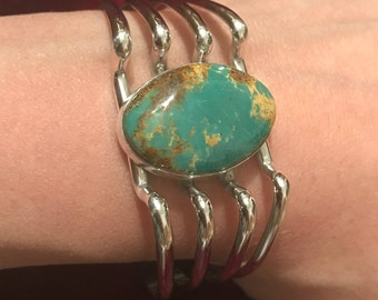 Native American Silver Kingman Turquoise Cuff Bracelet