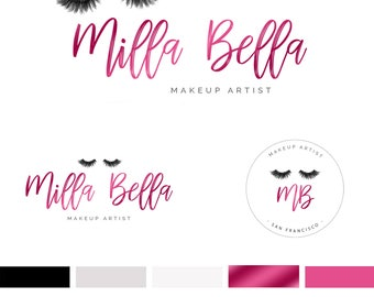 Branding Kit Template, Makeup Logo Design, Lash Logo, Makeup Branding Kit, Rose Gold Logo, Premade Logo, INSTANT DOWNLOAD, DIY Logo