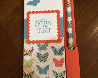 Stamin' Up Handmade Notepad with pencil