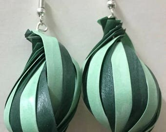 Quilled Paper Earrings: Green Shells