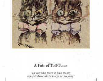 Louis Wain Cat Print Art - Original Vintage Art Print - A Pair of Toff-Toms