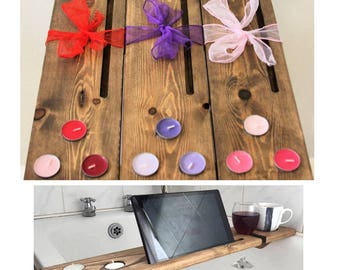 Wooden bath shelf, bath tray, bath caddy, bath board. Great Mother's day gift