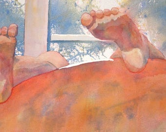 Original Watercolor - Lazy Feet, 21x24