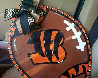 Bengal tigers wooden football door hanger