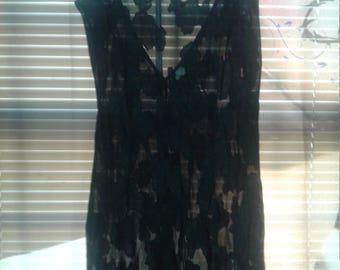 Vintage Valentine ELLE  Black Sheer Negligee Original Pajama Gram Gift