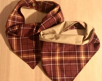Burgundy Plaid Dog Bandana