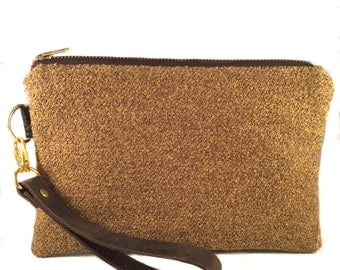 Gold Wristlet Wallet, iPhone wallet, Vegan Leather Clutch Purse, Cellphone Wristlet, Gift for Her