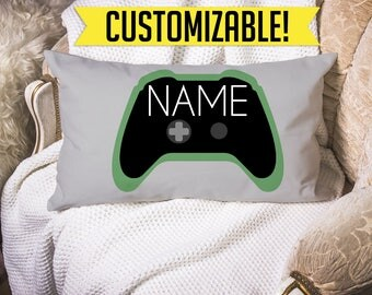 Personalized Xbox One Controller Throw Pillow - 20x12 Accent Cushion Cover Home Decor Gift for Kids Gamers XBOX