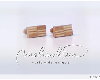 wooden cuff links wood cherry maple handmade unique exclusive limited jewelry - mahoshiva k 2017-29