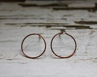 Earring made of copper wire-earring oxidised copper wire