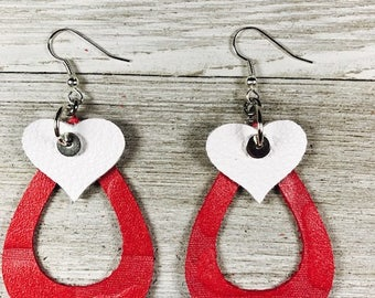 Leather earrings, Bold, Drop, Large, Teardrop, Heart