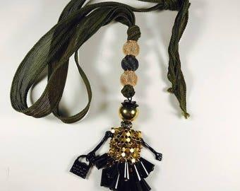Silk Ribbon Necklace, Silk Ribbon, Necklace, Doll Necklace, Doll Pendant, Taupe Silk Ribbon