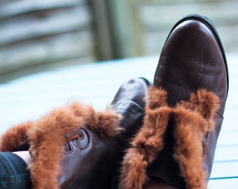 Tan Brown Lace Up Fluffy Vintage Boots