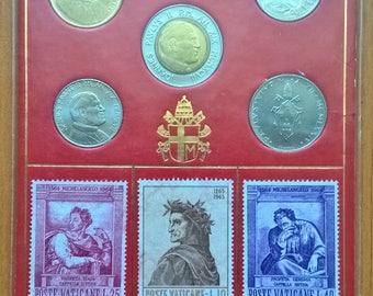 Vatican City. Vintage set of 5 Vatican collectible original coins. 50 Lire 1974, 100 Lire 1997, 100 Lire 1998, 200 Lire 1989, 500 Lire 1997.