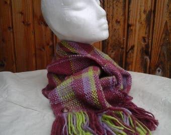 pure hand spun and woven merino wool scarf