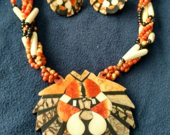 Lion Necklace and Earring Set