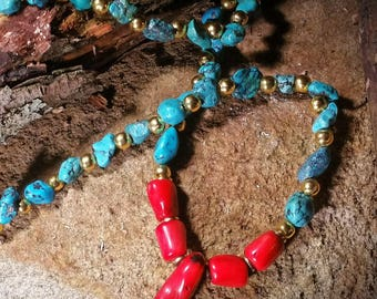 Natural Nugget Tourquoise and Red Coral Necklace