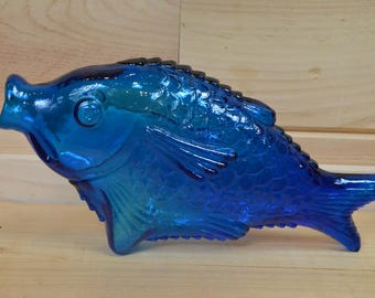 Vintage Blue Pressed Glass Fish Wine Bottle Decanter