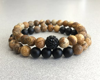 Relationship bracelets couples bracelets Jasper and Onyx bracelets long distance bracelets bracelets for him and her couples gifts