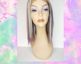 Mystic Unicorn Wig/ Silver Blonde with unicorn colored highlights