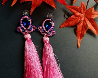 Deep Blue Crystal Soutache Earrings Statement Earrings Ethnic Boho Chic Long Pink Tassel Earrings