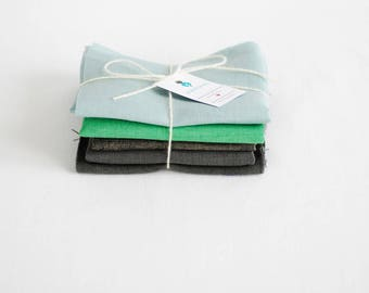 Craft linen fabrics, fabric remnants, scraps bundle, stone grey green blue linen, craft kit, cheap fabric, sewing supply