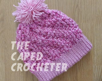 Pink Stepping Texture Hat with Pom Pom