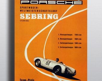 Porsche Sebring - Vintage Racing Poster Print