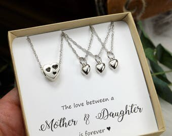 Mother daughter heart necklaces valentine gift set mother 2 3 daughters Mother in law gift mother wedding gift mother daughter necklace