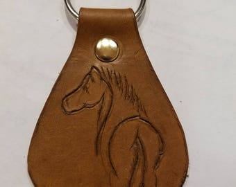 Custom Leather Keychain with Horse Design