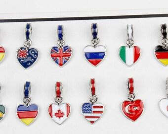 National Flag pendant,World cup 2018,United Kingdom,France,Germany,Spain,Brazil,United States,Canada,Australia,Russia,Flag Charm Pendant