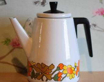 70s Retro Vintage White Enamel Sunflower Coffee Pot