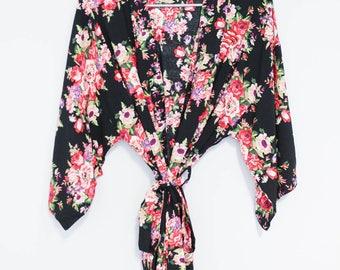 Cotton Robe Black, Black Cotton Robe, Black Floral Robe, Bridal Robes Cotton, Bridal Robe Kimono, Bridesmaid Gift On A Budget, Monogram Robe