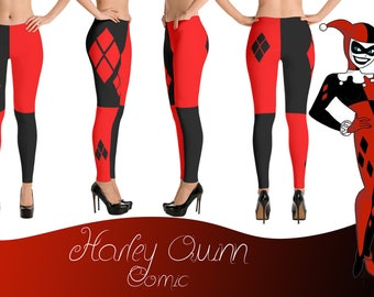 Harley Quinn, DC Comic, Jester, Black and Red Womens Leggings
