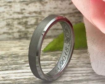 4mm Tungsten Ring, Tungsten Wedding Ring, Personalize Engraved Tungsten Ring, Skinny Ring,Anniversary Ring, Promise Ring SHJTCR144