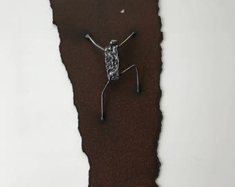 "Metal sculpture- ""Bouldering"" --Welded Figure --Solid Steel --Signed 'one of a kind' Sculpture"