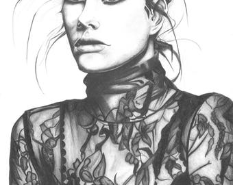 Poster A3 or A2, graphite pencil drawing