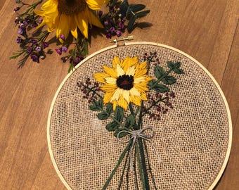 Sunflower Bouquet Embroidery Hoop Art